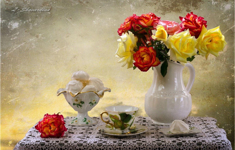Фото обои розы, зефир, ьукет