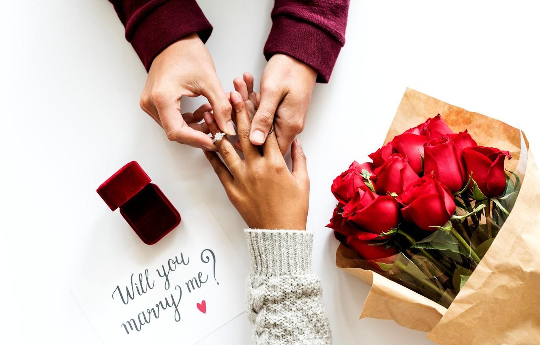 Фото обои надпись, розы, букет, руки, кольцо