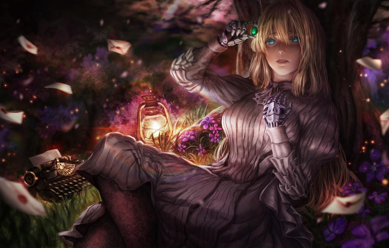 Фото обои девушка, аниме, арт, брошь, Violet Evergarden