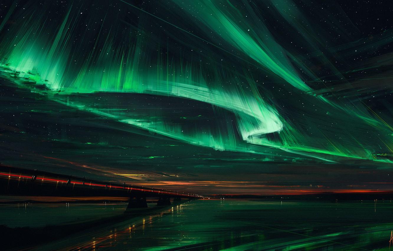 Фото обои небо, мост, Северное сияние, Northern Lights, Aenami, Alena Aenami, Алена Величко, Alena Velichko