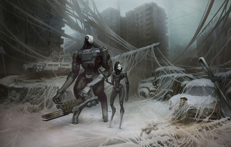 Фото обои машина, город, фантастика, улица, робот, арт, танк, киборг, россия, постапокалипсис, спецназ