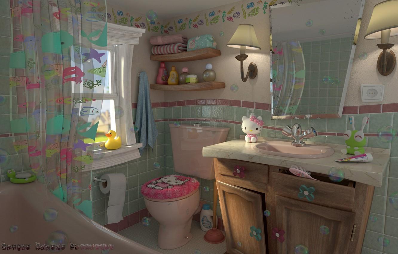 Фото обои игрушки, интерьер, арт, ванная, китти, детская, Retro kids bathroom, Sergio Raposo Fernández