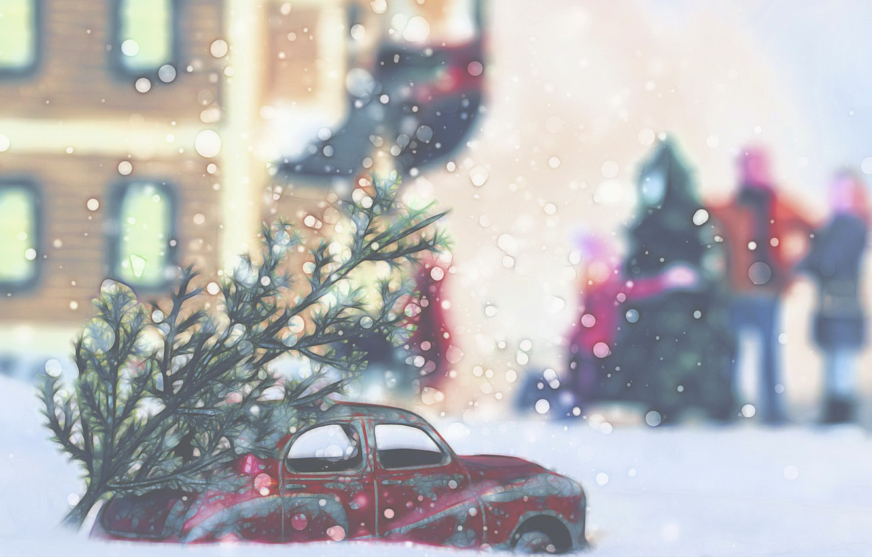 Фото обои машина, город, праздник, ёлка