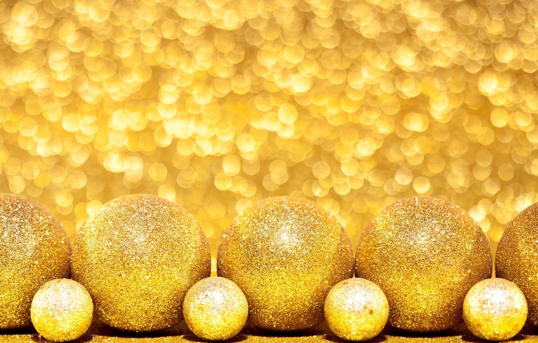 Фото обои золото, шары, игрушки, новый год