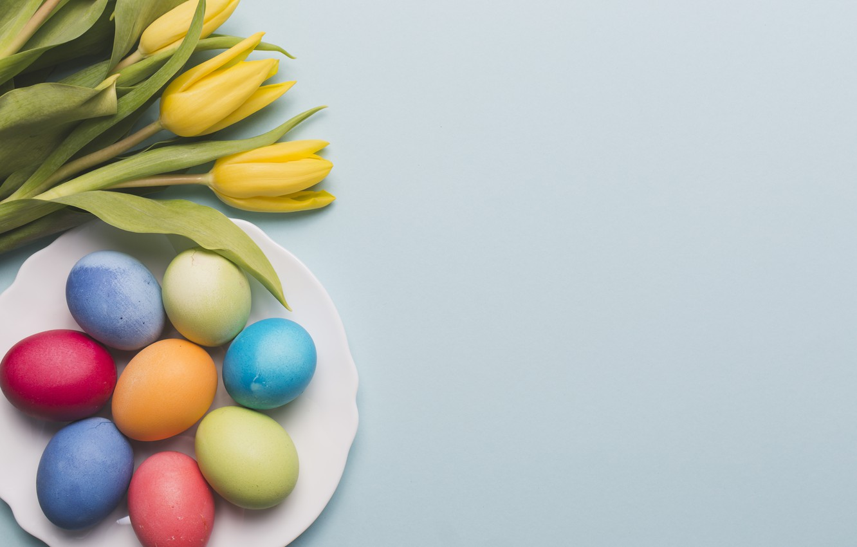 Фото обои цветы, весна, желтые, Пасха, тюльпаны, yellow, flowers, tulips, spring, Easter, eggs, decoration, Happy, яйца крашеные