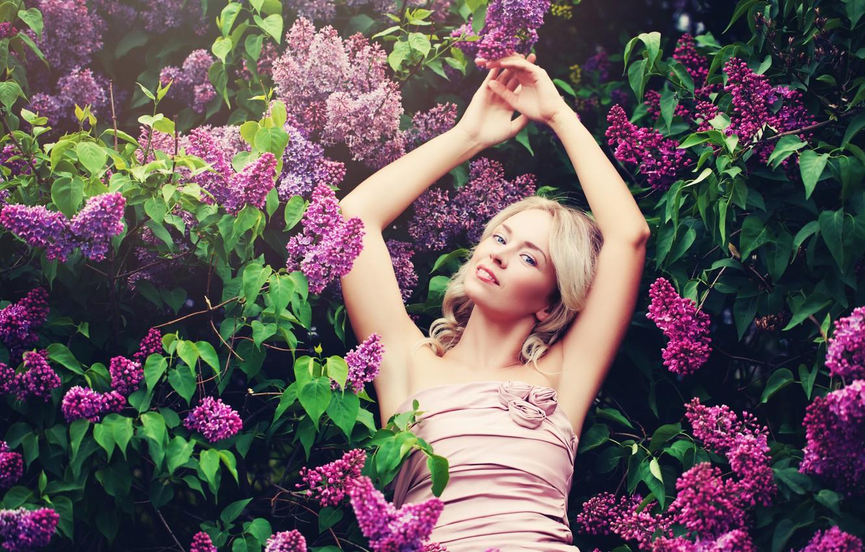 Фото обои листья, ветки, поза, макияж, сад, платье, прическа, блондинка, красотка, кусты, цветки, сирень