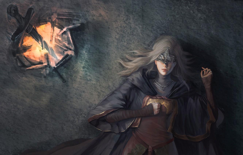 Фото обои fire, girl, sword, game, dress, woman, ken, blade, mask, Dark Souls, spark, Dark Souls 3, …
