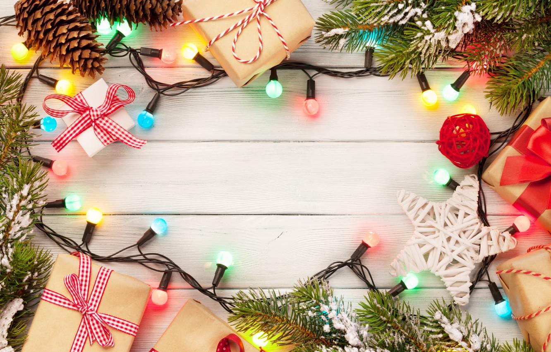 Фото обои Новый Год, Рождество, christmas, гирлянда, balls, merry christmas, gift, decoration, xmas