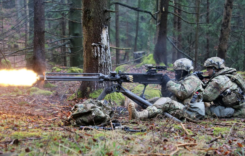 Фото обои армия, солдаты, пулемёт
