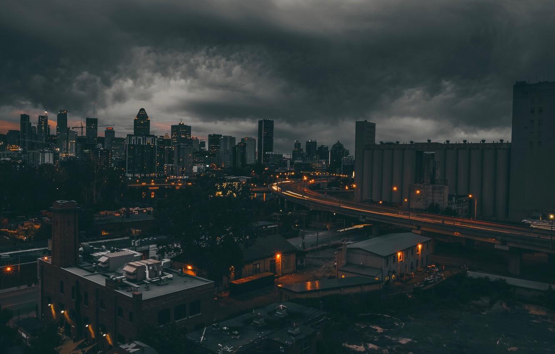 Фото обои крыша, ночь, тучи, огни, мрак, Canada, Montreal