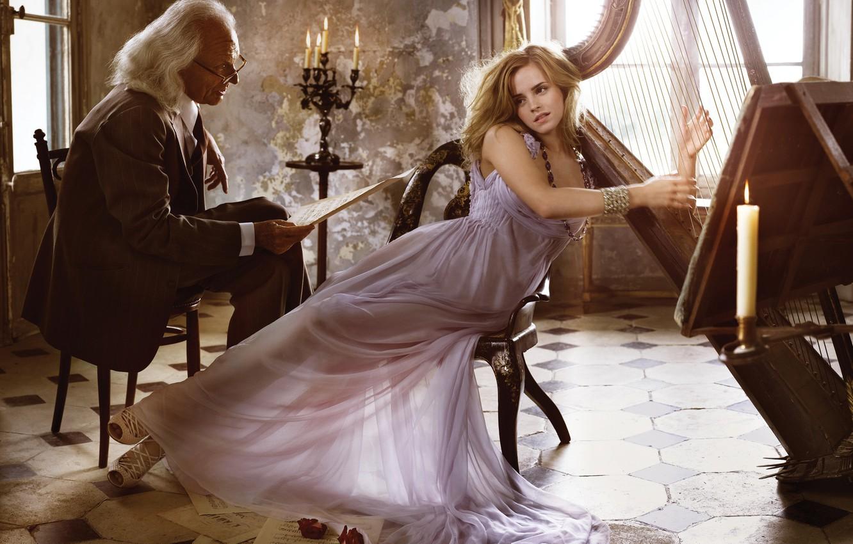 Фото обои девушка, поза, ноты, свечи, макияж, платье, очки, арфа, прическа, костюм, мужчина, красотка, Эмма Уотсон, Emma ...