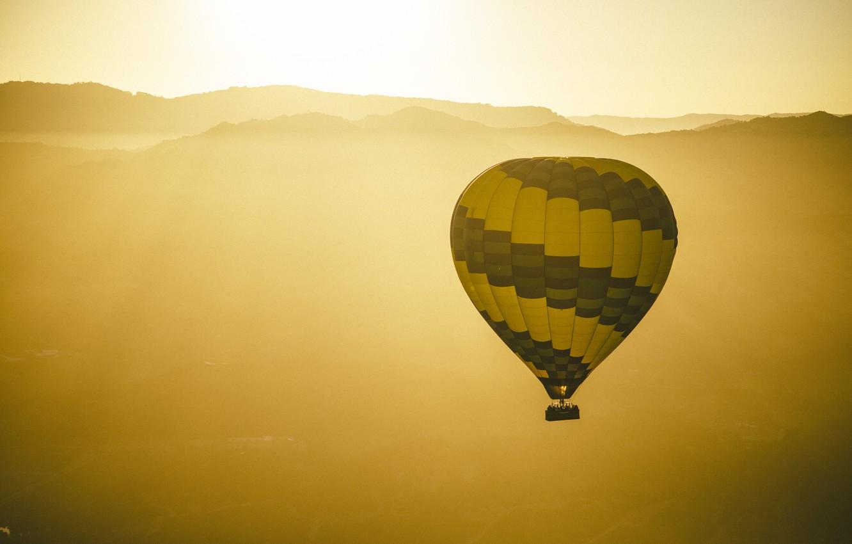 Фото обои солнце, воздушный шар, горизонт