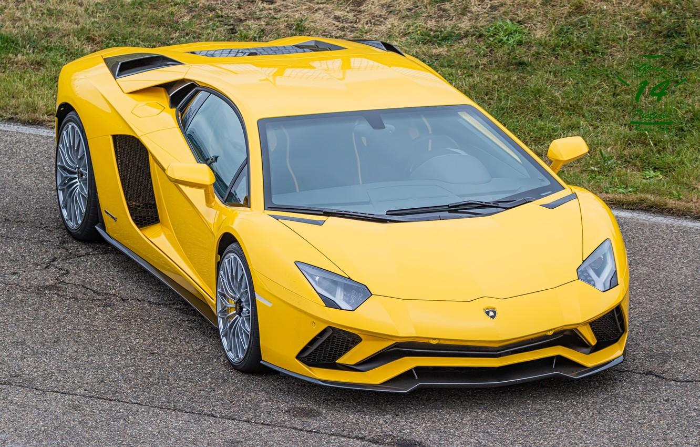 Фото обои Lamborghini, Yellow, Aventador, s