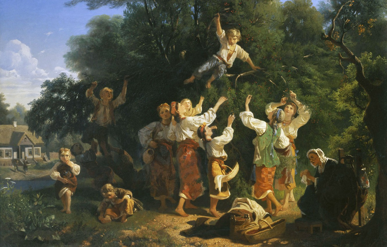 Фото обои дети, дом, девушки, масло, бабушка, Холст, 1858, Иван СОКОЛОВ, Сбор вишни в помещичьем саду
