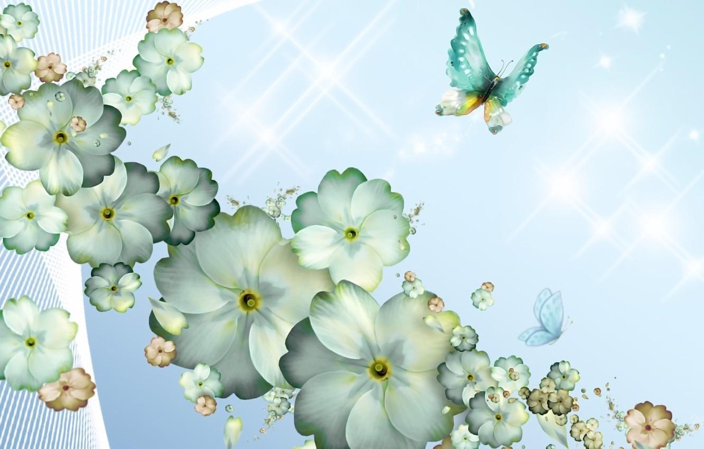 Фото обои бабочки, цветы, рендеринг, фон, фантазия, коллаж, рисунок, весна, лепестки, картинка