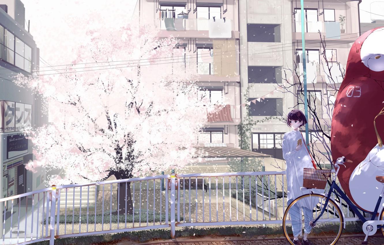 Фото обои девушка, мост, велосипед, город, дерево, дома, аниме, сакура, арт, форма, школьница