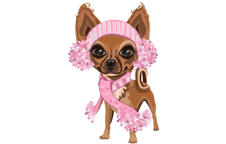 Фото обои девочка, белый фон, собачка, розовый шарф