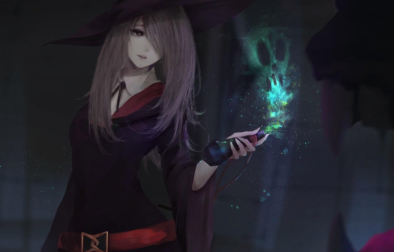Фото обои девушка, магия, шляпа, аниме, арт, форма, ведьма, sucy manbavaran, aoi ogata, little witch academia