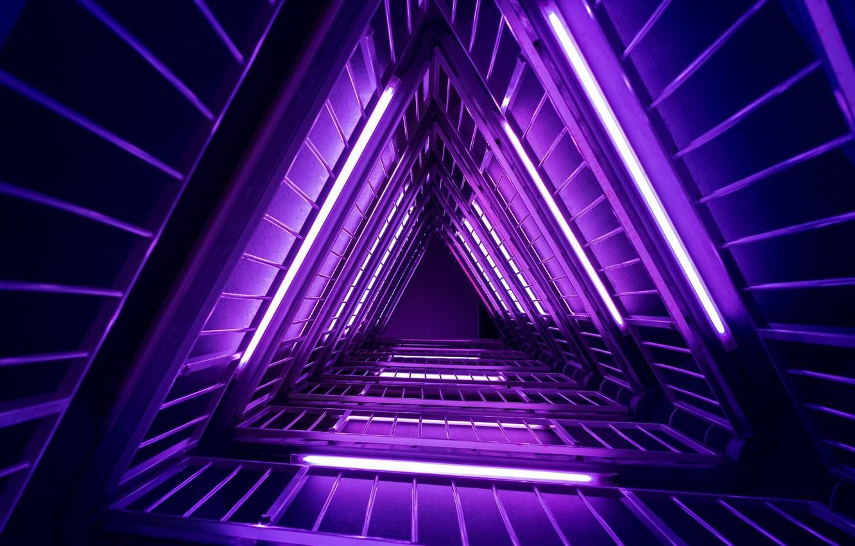 Фото обои фиолетовый, неон, лестница, light, neon, purple, ladder