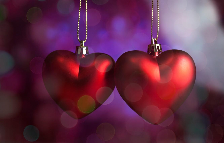 Фото обои сердечки, red, love, romantic, hearts, bokeh, Valentine's Day