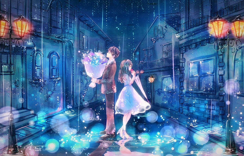 Фото обои ночь, город, дождь, улица, романтика, дома, букет, зонт, фонари, костюм, лужи, двое, свидание, белое платье, …