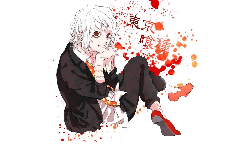Фото обои пятна, красные глаза, безумие, шрамы, Tokyo Ghoul, Juuzou Suzuya, Токийский Монстр, адская ухмылка, капли крови, …