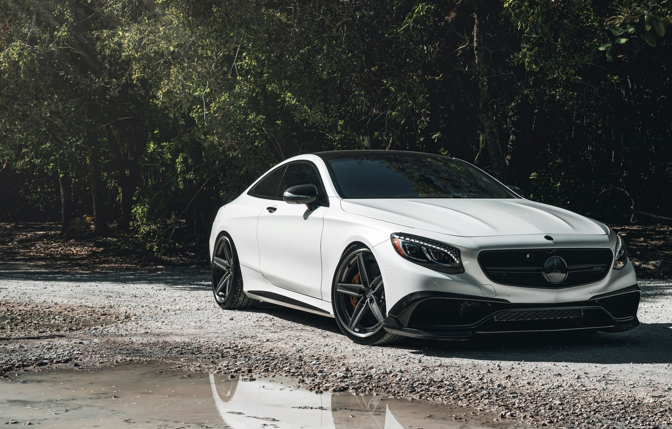 Фото обои Mercedes, AMG, Water, Coupe, White, Forest, S63