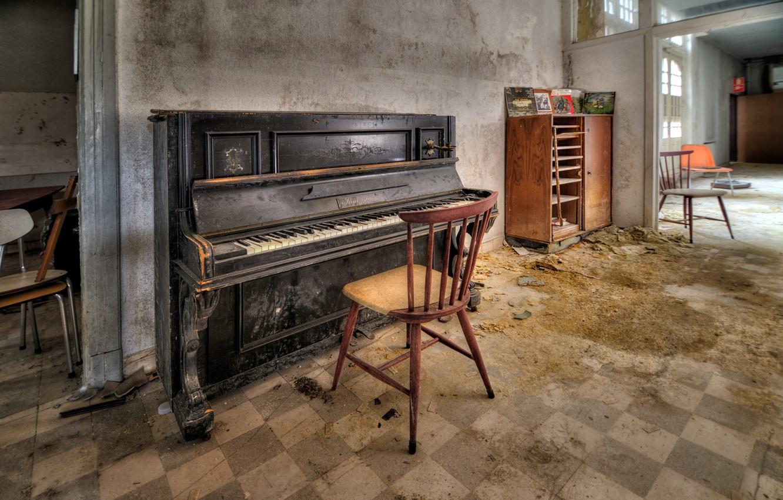 Фото обои комната, стул, пианино