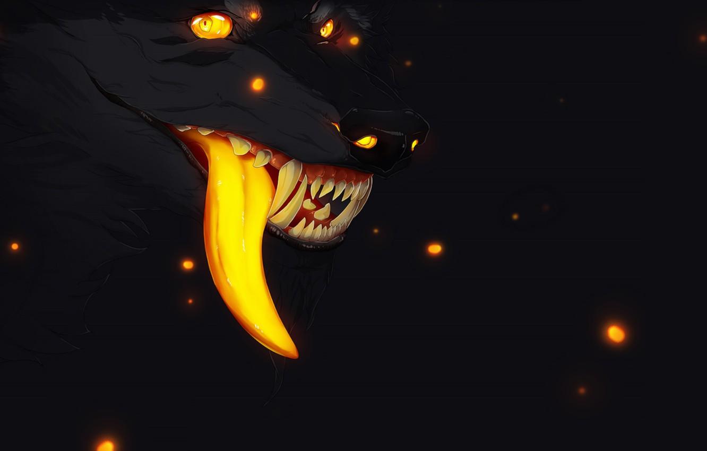 Фото обои светлячки, страх, тьма, волк, пасть, клыки, оборотень, art, wolf, длинный язык, горящие глаза, злобный взгляд, …