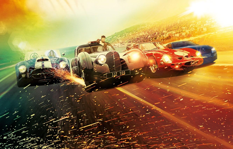 Фото обои город, блики, фон, гонка, скорость, шоссе, искры, триллер, постер, автомобили, Scott Eastwood, Скотт Иствуд, Overdrive, …