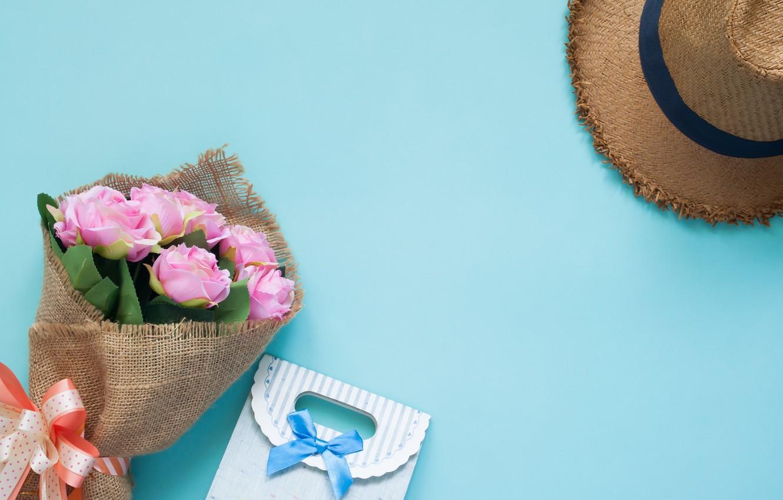Фото обои подарок, розы, букет, шляпа, love, pink, romantic, открытка, gift, roses