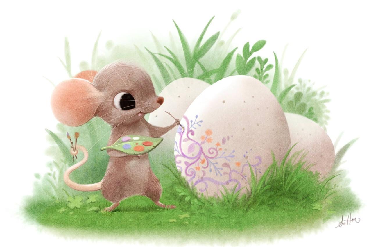 Фото обои праздник, яйцо, мышка, арт, пасха, детская, Sydney Hanson, мазанка