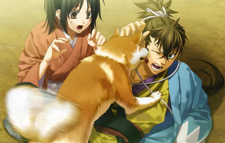 Фото обои эмоции, японская одежда, art, пот, пёс, демоны бледной сакуры, chizuru yukimura, hakuouki shinsengumi kitan, yone …
