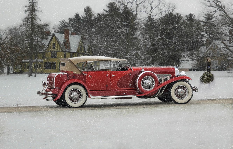 Фото обои зима, снег, ретро, классика, Duesenberg, 1932 Duesenberg Model J Phaeton