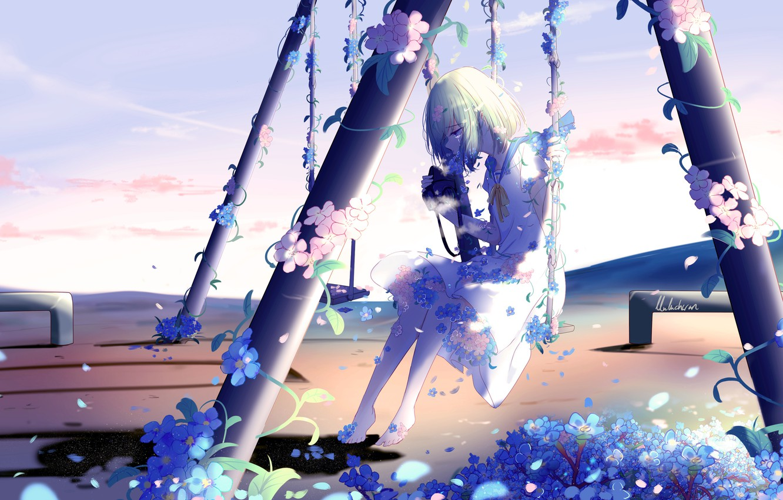 Фото обои девушка, цветы, качели, плачет, by lluluchwan