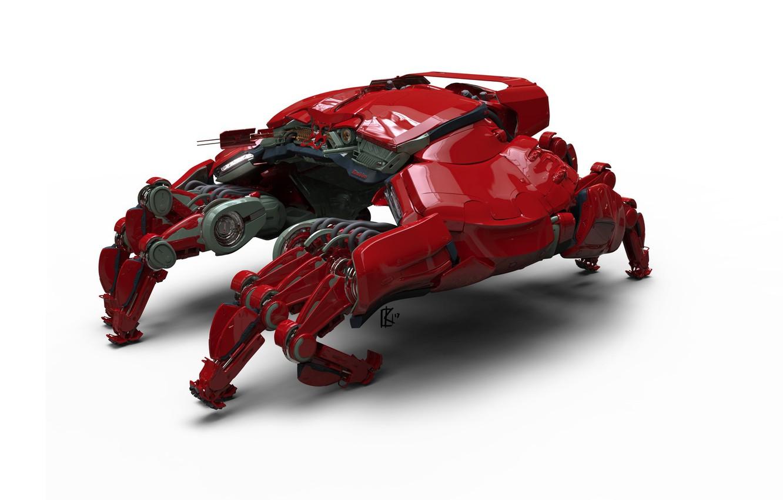 Фото обои робот, техника, арт, Casper Konefal, space racer 1