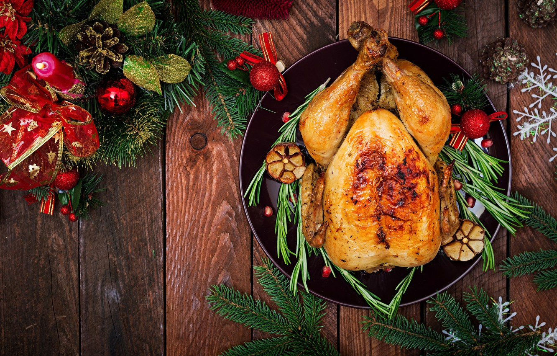 Фото обои праздник, новый год, угощенье, запеченная курица