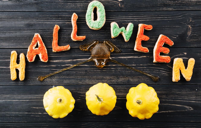 Фото обои буквы, праздник, паук, хэллоуин, печеньки