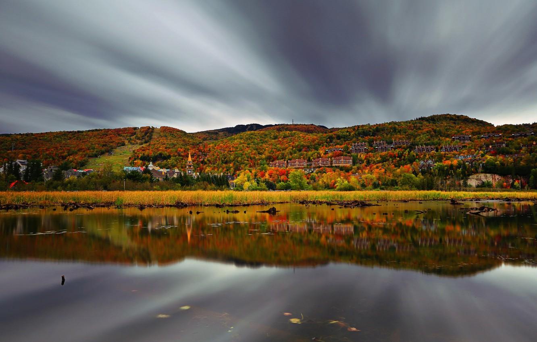 Фото обои небо, пейзаж, отражение, домики