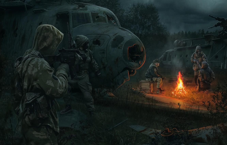 Фото обои арт, солдаты, свалка, чернобыль, Сталкер, Stalker, stalker, сталкеры