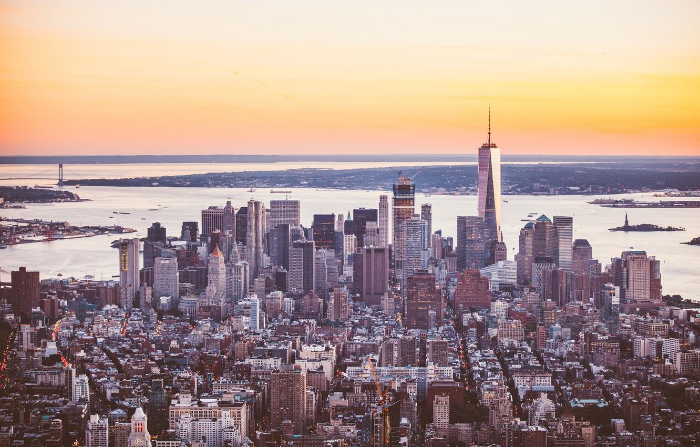 Фото обои город, здание, небоскребы, панорама, мегаполис, New York