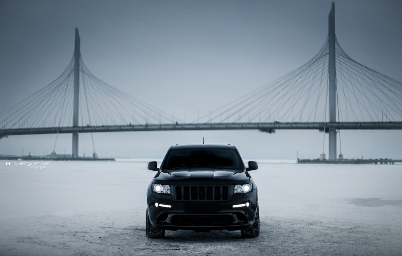 Фото обои car, машина, авто, city, тачка, ice, автомобиль, srt, cars, auto, bridge, winter, jeep, grand cherokee, …