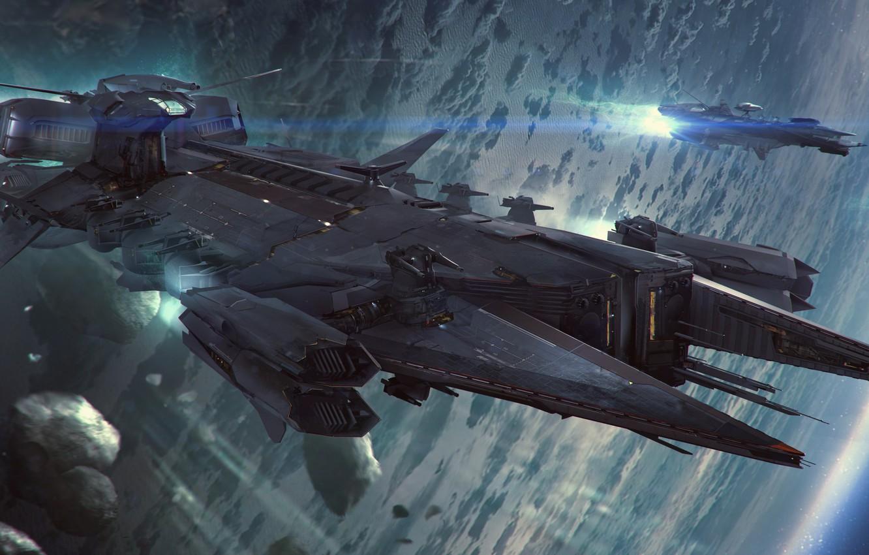 Фото обои космос, звездолет, Star Citizen, Javelin
