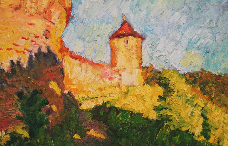 Фото обои башня, 2006, крепость, Пейзаж, тропинка, Петяев
