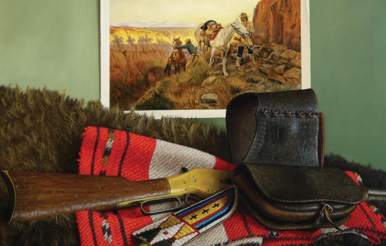 Фото обои картина, лошади, нож, шуба, ружьё, ковбои, кабура, Still life, William Acheff, Индейский натюрморт, Shhh