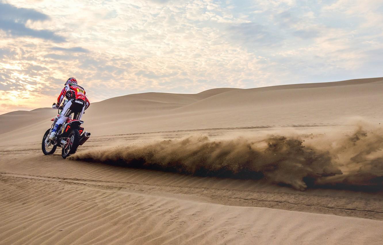 Фото обои Песок, Мотоцикл, Мото, Rally, Ралли, Дюна, Пески, Homda, Dakar'