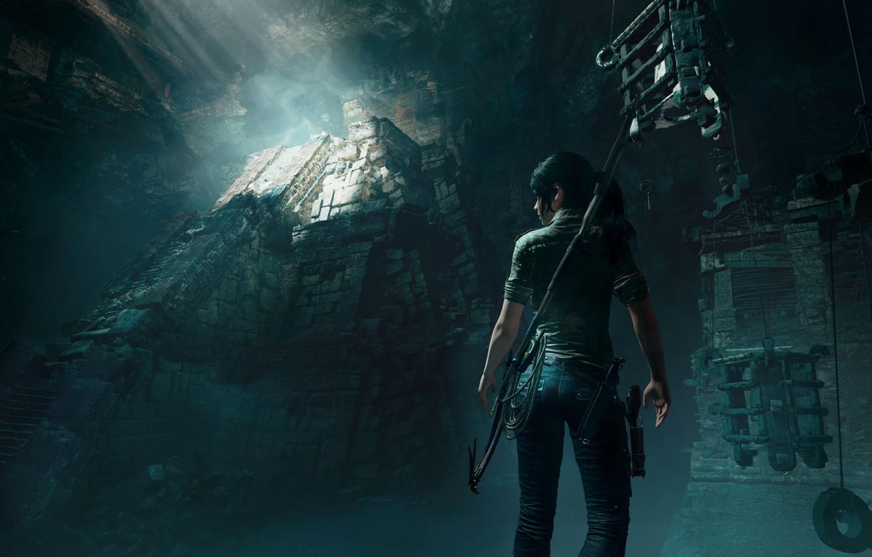 Фото обои Tomb Raider, Лара Крофт, гробница, Shadow of the Tomb Raider, свет солца