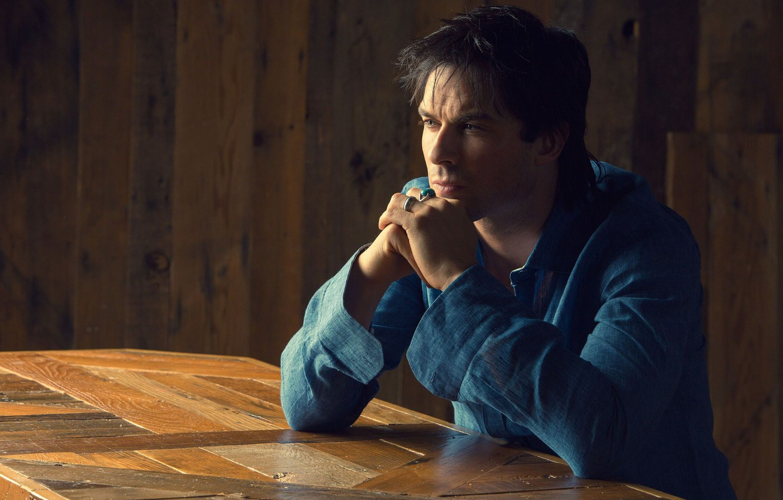 Фото обои взгляд, кольца, актер, профиль, рубашка, Ian Somerhalder, Йен Сомерхолдер