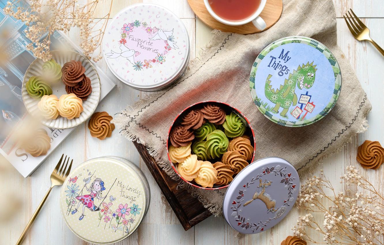 Фото обои чай, печенье, выпечка, коробочки