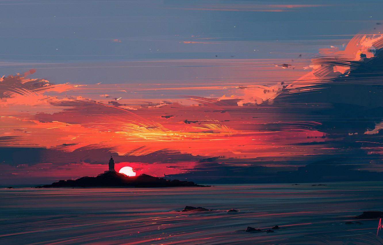 Фото обои море, солнце, закат, маяк, Aenami, Alena Aenami, Close to the Sun, Алёна Величко, Alena Velichko